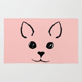 Cute Adorable Hand Drawn Kitty Face Pink and Black Rug