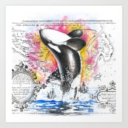 Breaching Orca Watercolor Rainbow Ancient Map Art Print
