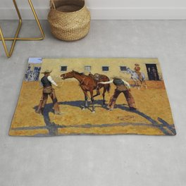 """Frederic Remington Western Art """"His First Lesson"""" Rug"""