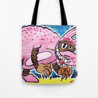 bad wolf Tote Bags featuring Bad Wolf by BIRITA illustration