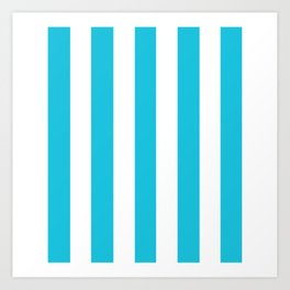 Caribbean blue - solid color - white vertical lines pattern Art Print