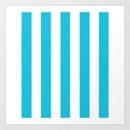 Caribbean blue - solid color - white vertical lines pattern Art Print