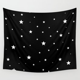 Scattered Stars - white on black Wall Tapestry