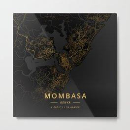 Mombasa, Kenya - Gold Metal Print
