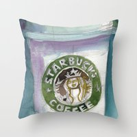 starbucks Throw Pillows featuring Starbucks by Dorrie Rifkin Watercolors