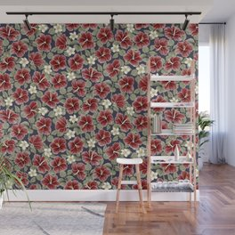 Maroon Hibiscus and Plumeria Wall Mural