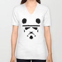 trooper V-neck T-shirts featuring Panda Trooper by Danny Haas