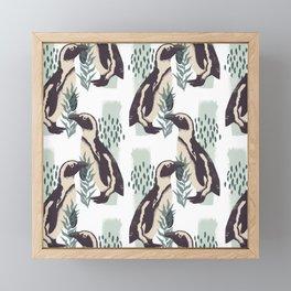 Botanical Penguin Pattern Illustration Design Framed Mini Art Print