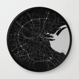 Black on Light Gray Dublin Street Map Wall Clock