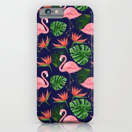 Pink Flamingos with Tropical Leaves iPhone Case