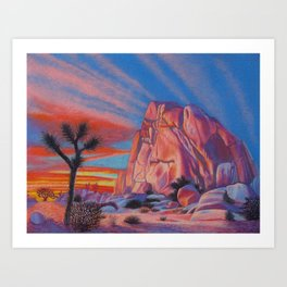 Glowing Joshua Tree sunset as the climbing day draws to a close Art Print