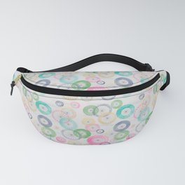 Watercolor Wheels on Gray Fanny Pack