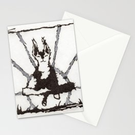 Zen Dog Black and White Meditation Sun Minimalist Graphic Conceptual Art Stationery Cards