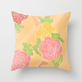 Flower Sketch Throw Pillow