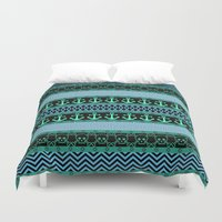 pirates Duvet Covers featuring Geometric Pirates by Alice Gosling