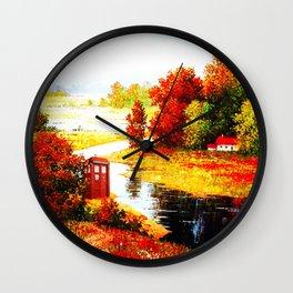 Tardis Lost At The River Wall Clock