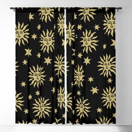 Mid Century Modern Sun and Star Pattern Black and Gold Blackout Curtain