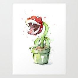Piranha Plant Art Nintendo Mario Videogame Geek Gaming Art Print