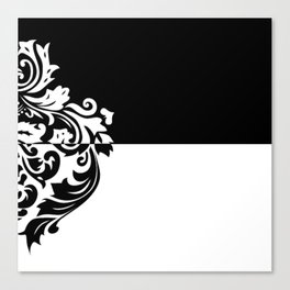 Black & White Inverted Damask Canvas Print