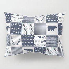 Camper antlers bears pattern minimal nursery basic navy mint grey white camping cabin chalet decor Pillow Sham