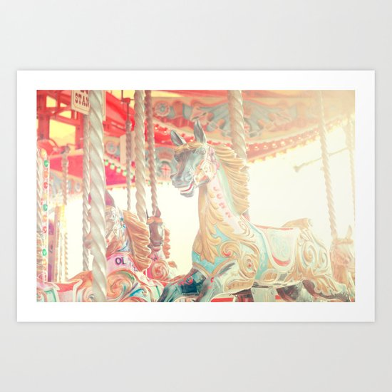 On The Carousel Art Print