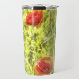 Poppy Watercolour Art Travel Mug