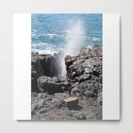 Splashing sea water on rocks Metal Print