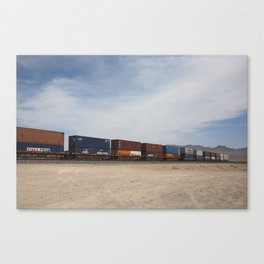 Vidal Train Crossing Blue Canvas Print