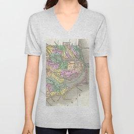 Outer Banks and Eastern North Carolina Map (1827) Unisex V-Neck