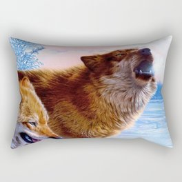 Two red wolves painting Rectangular Pillow