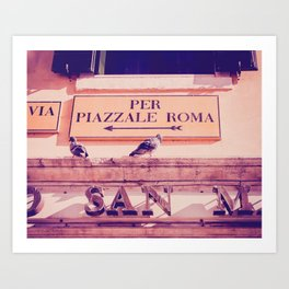 Italian Sign In Venice Fine Art Print Art Print