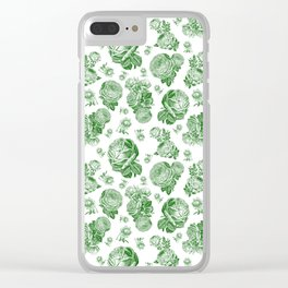 Retro Roses Green Clear iPhone Case