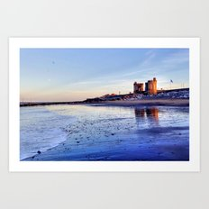 Withernsea Sunset and Moon Art Print