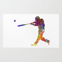 Baseball player hitting a ball Rug