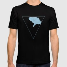 All lines lead to the...Inverted Great White Shark Mens Fitted Tee MEDIUM Black