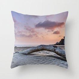 Half Moon Beach. Red sky Throw Pillow