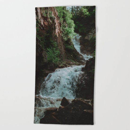 Alaska Waterfall Beach Towel