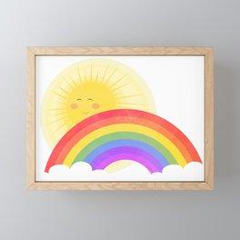 Nursery Rainbow and Sun Framed Mini Art Print