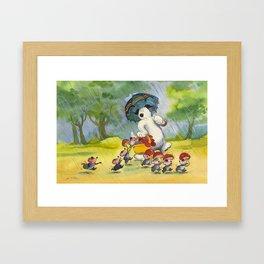 Waldo in the rain Framed Art Print