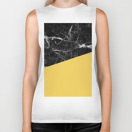 Black Marble and Primrose Yellow Color Biker Tank