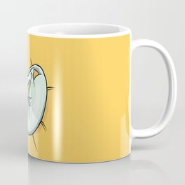 Playful Sphynx Kitty - Curled Up Nude Cat - Wrinkly Nude Cat - Yellow Coffee Mug