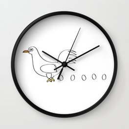Chicken with trail of eggs Wall Clock