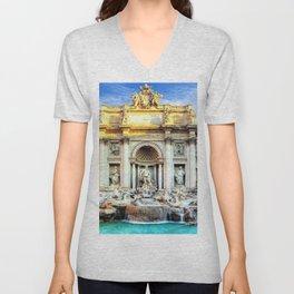 Trevi Fountain and Pool - Rome, Italy Unisex V-Neck