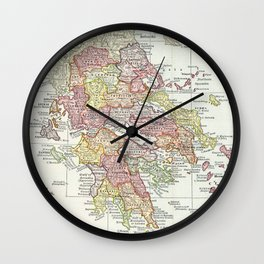 Vintage Map of Greece (1903) 2 Wall Clock