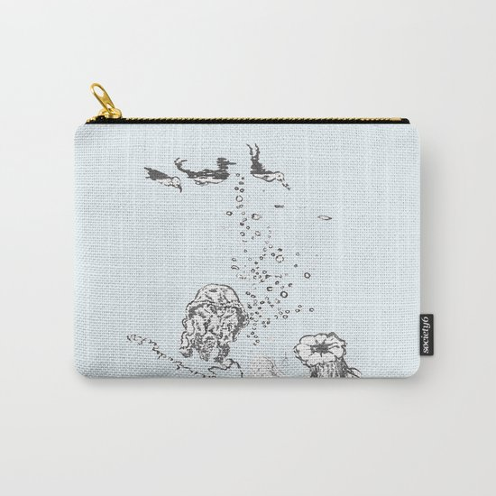 Two Tailed Duck and Jellyfish Pale Blue Carry-All Pouch