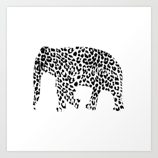 Elephant with leopard pattern Art Print