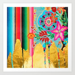 Gold Dipped Boho Serape Dream Art Print