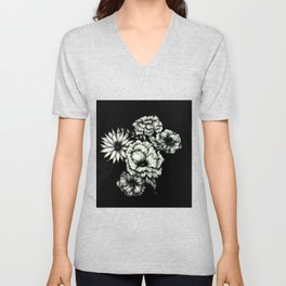 Black Floral Ink III Unisex V-Neck