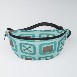 Mid Century Modern Squares Lines Turquoise Fanny Pack