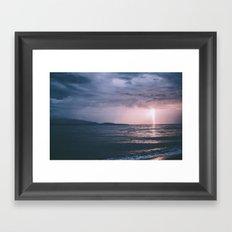 Lightning over the Strait of Georgia Framed Art Print